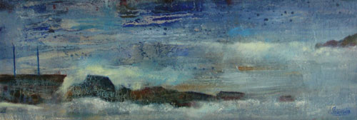 Marina con malecón     Óleo / tabla 61 x 22 cm