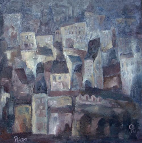 Vadim Sokolov.  Ciudad     óleo/lienzo 107x107