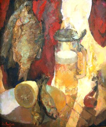 Ivan Latyshev. Pescado y cerveza     óleo/lienzo 45x55